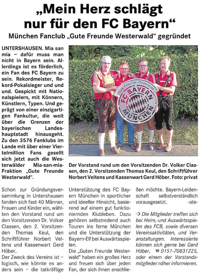 Artikel im Lokalanzeiger vom 2. Juli 2014